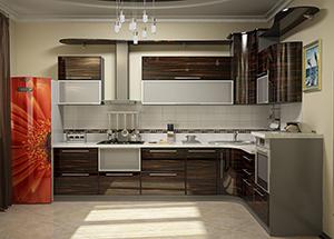 кухня в стиле эко шпонированная с темными вставками