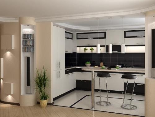 простая барная стойка на кухне в квартире студии