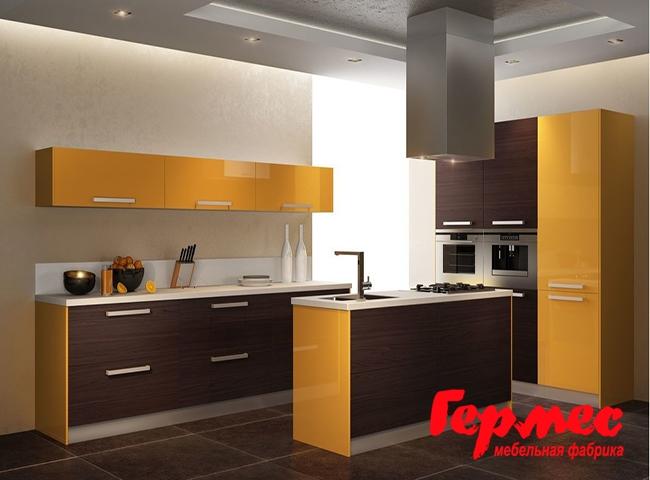 желтая кухня из шпона