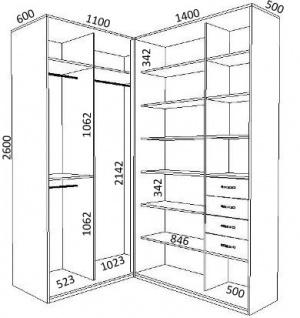 схема размеров внутреннего наполнения углового шкафа купе