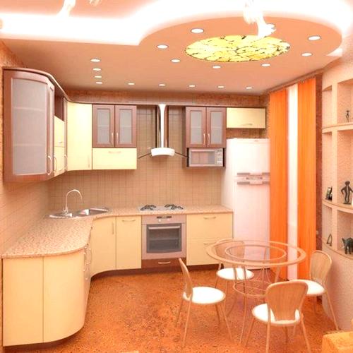 зонирование кухни с помощью светильников